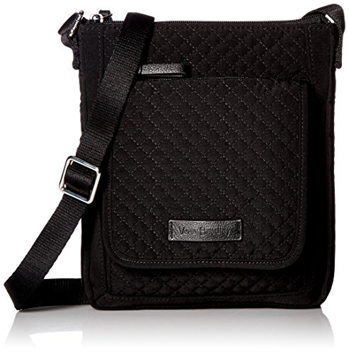 Vera Bradley Women's Microfiber Mini Hipster Crossbody Purse with RFID Protection, Classic Black