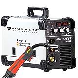 STAHLWERK MIG 135 ST IGBT - Saldatrice a gas protettivo MIG MAG con 135 Ampere, filo animato FLUX adatto, con la mano elettronica MMA, 5 anni di garanzia