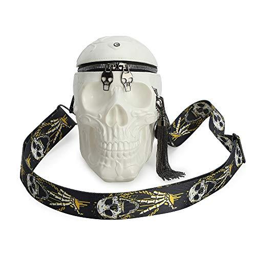 Gótico cráneo Monedero y Bolsos para Mujer Bolso de Hombro, Monedero gótico Blanco