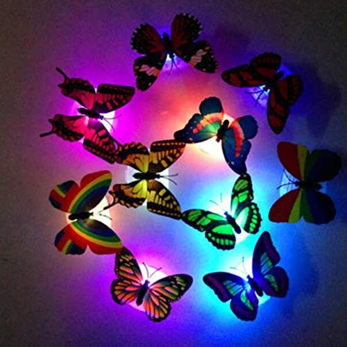 Uonlytech Butterfly Night Light, 3D Stereo Butterfly LED Wall Stickers, LED Wall Light for Home (16 Pcs, Random Color)