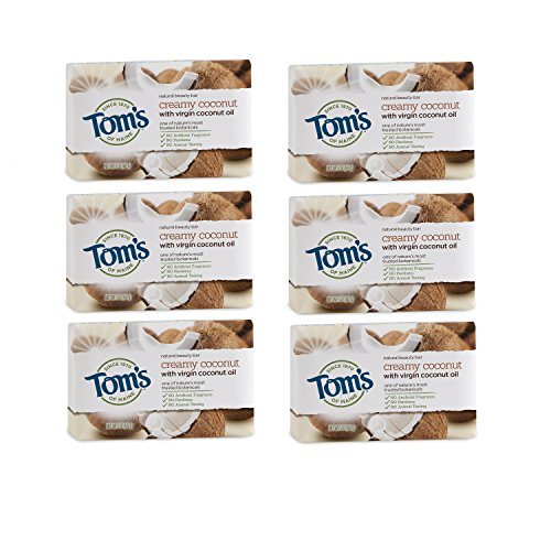 Tom's of Maine Natural Beauty Bar Soap, Creamy Coconut With Virgin Coconut Oil, 5 oz. 6-Pack