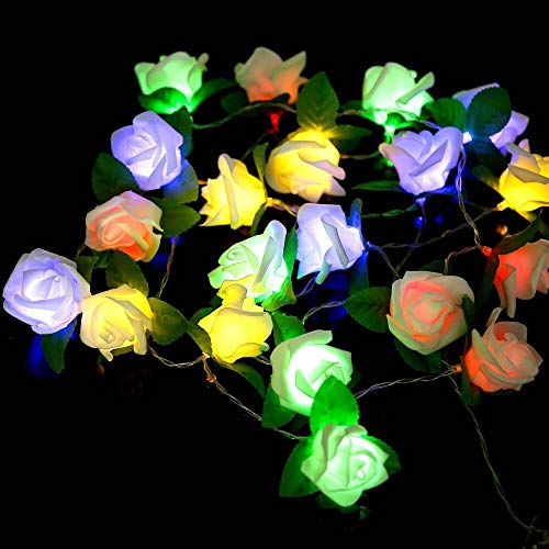 Coobbar Holiday Lighting Fairy Rose Flower Light String 2M 20leds Battery Powered Christmas Holiday Decoration Lamp for Valentine Wedding Party Garland Lighting Strings