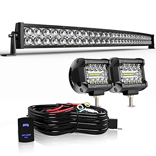 KEENAXIS 42 Inch 240W LED Spot Flood Combo Bar 2PCS + 4Inch 18W LED Work Lights Driving Lights with Rocker Switch Wiring Harness for Ford Truck Chevy GMC ATV ,1Year Warranty