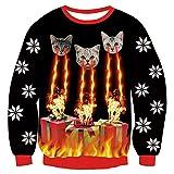 Uideazone - Felpa natalizia, in stile maglione brutto di Natale (Ugly Christmas), a maniche lunghe, con stampa 3D, unisex Regalo con gatto. M