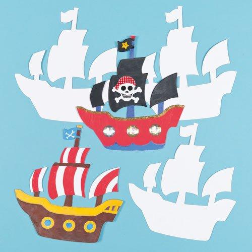 Piratenschiff aus Pappe zum Basteln und Bemalen für Kinder - für Kindergeburtstag und Mottoparty (10 Stück)