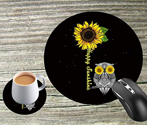 Round Mouse Pad and Round Coaster, Cute Mouse Pad with Design, Non-Slip Rubber Base Gaming Mouse Pad, Size 7.9 x 7.9 x 0.08 Inch, Suitable for Home Office Custom Mouse Pad, Sunflower and Eagle