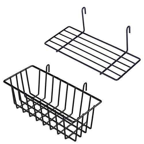 GBYAN Hanging Basket Gitterkörbchen Metalldraht Korb für Gitterwand Straight Shelf Flower Pot Display Holder for Wire Wall Grid Panel, 2 Pack