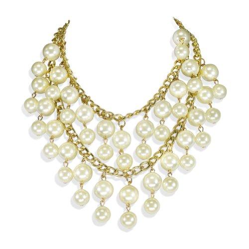 Heyjewels Mode Elegante Perlenkette Luxus Halskette Abendkleid Kette Hochzeit Braut Runder Anhänger Party Stern Gold Charme Colliers Vintage Schmuck Accessories
