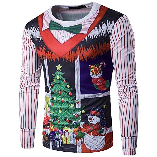 Camicia A Maniche Lunghe Lunga Uomo Manica da Slim Casual Moderna Fit Albero di Natale 3D Print Girocollo Felpa Tee Shirt Miscela di Cotone Screziato (Color : Bildfarbe, Size : S)