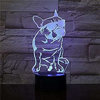 Cute Dog with Glasses Shape 3D Table Lamp Touch Control 7 Colors Changing Acrylic Night Light USB Decorative Kids Gifts
