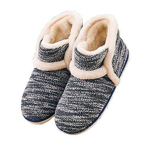 MiYang Frauen Retro Wärmeschuhe Solid Hausschuhe Boot Slippers Blau