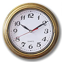 8 Silent Decor Wall Clock Non ticking Wall Clock Vintage Gold Metalic Looking Easy to Read Wall Clock For Home/School/Hotel/Office