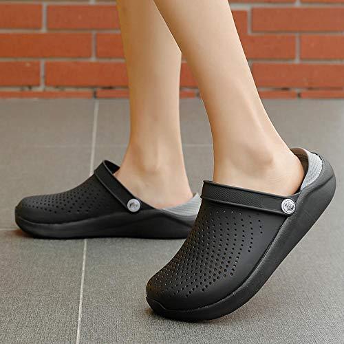 Chanclas Unisex Zapatos De Agujero Sandalias Blancas Zapatos De Hombre Agujeros Crok Zuecos De Goma para Mujer Zapatos De Jardín Crocse Adulto Cholas 5 Negro