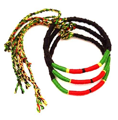 Lote de 3 pulseras brasileñas de la amistad de algodón trenzado, macramé de la suerte para hombre, mujer, niña, verde, rojo y negro rasta