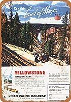 2個 20 * 30CMメタルサイン-1948年ユニオンパシフィック鉄道からイエローストーン公園まで メタルプレート レトロ アメリカン ブリキ 看板
