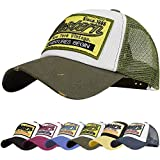 UMIPUBO Gorra de béisbol para Hombre Ajustable Classic Mesh Gorra Unisex molienda Borde Haga Viejo Sombrero (Verde ejército)