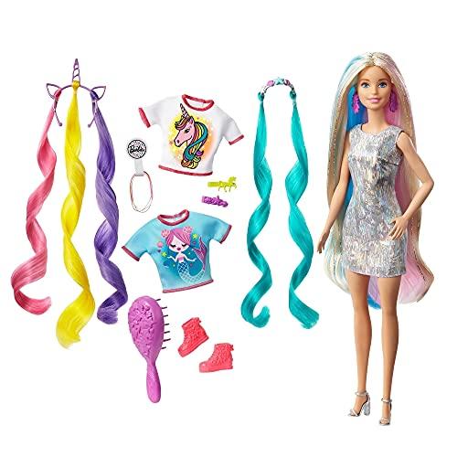 Barbie Peinados Fantasía Rubia con Looks de Sirena y Unicornio, Multicolor (Mattel...