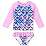 Mermaid Scale Long Sleeve Swimsuits for Kids 2 Pieces Set Swimwear Quick Dry Surfing Wetsuit for Girl 5-6 Years