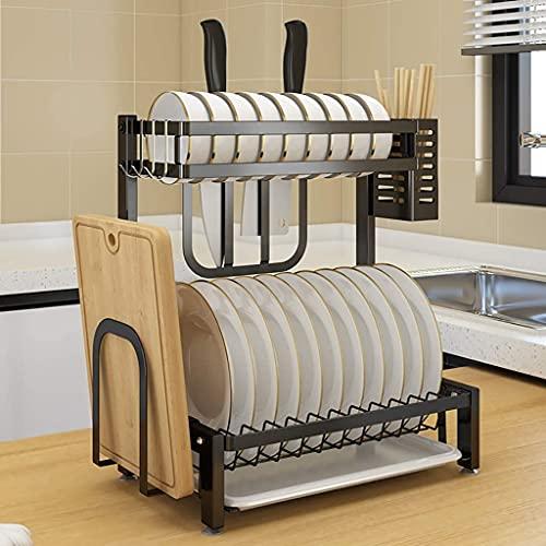 Dish Drying Rack In SinkDish Rack Drain Rack Chopping Board Knife Rack Chopstick Rack Tableware Kitchen Shelf Black 201 Stainless Steel 2-Layer Tableware 35 * 22 * ??40.5 cm