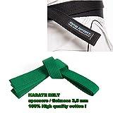 cinturón de Karate Belt Aikido Karate–GI 100% Algodón 3,5mm Colores Varios, Verde, A4 / 310 cm