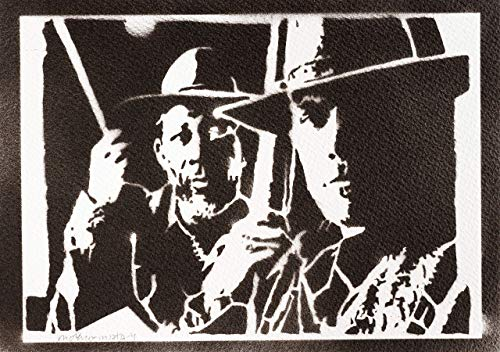 Erbarmungslos Poster Clint Eastwood und Morgan Freeman Unforgiven Plakat Handmade Graffiti Street Art - Artwork