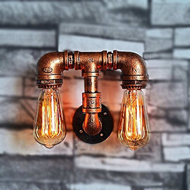 Vintage Industrial Steampunk Pipe Iron Doppelkopf Wandleuchte 2 Lampen Design Wasserpfeife Wandleuchte High  19 cm