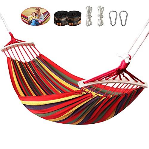 Yuxuan store Doppel Hängematte 280 x 150 cm, Hängematten Outdoor Stabhängematte mit Holzstäben und Tragetasche für Outdoor Garten Indoor Camping, Belastbarkeit bis 300KG,Rot