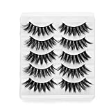 5 Pairs Woman's Fashion Cross Long Reusable Mixing Styles 3D Faux Mink Hair Lash Extension Tools Wispy Lashes False Eyelashes(GT13)