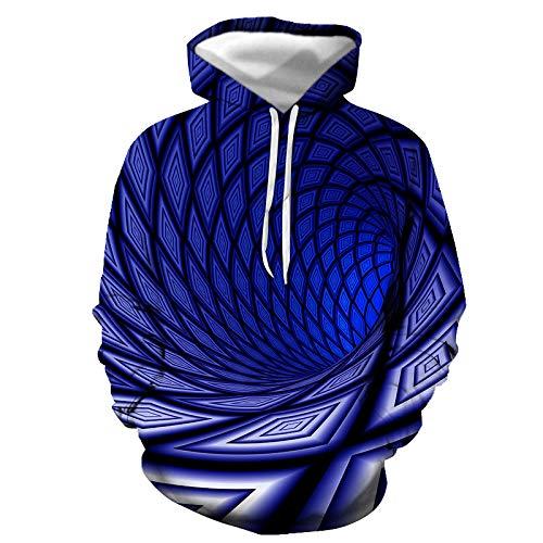 HOSD Estampado Moda Capucha de Digital con con de Sudadera Negro de Agujero Remolino de Hombre para Color