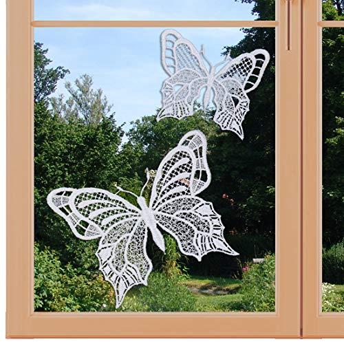 artex deko Set 2 Stück Fensterbilder Schmetterlinge weiß Fensterdekoration mit Saugnapf Plauener Spitze