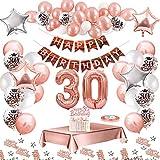 MMTX Globos De Cumpleaños 30 Años Feliz Cumpleaños Decoracion Regalo 18 Regalos Cumpleaños Mujer Oro Rosa con Guirnalda Banner De Cumpleaños para Fiesta,Manteles,Confetti,Globos de Látex Impresos