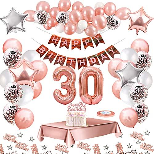 MMTX 30 Geburtstag Dekoration, Geburtstag Party Luftballon Deko mit Happy Birthday Luftballon,Druck Latex Luftballons Sterne Herz Folienballons für Schwarz Silber Junge Männer Mädchen Frauen