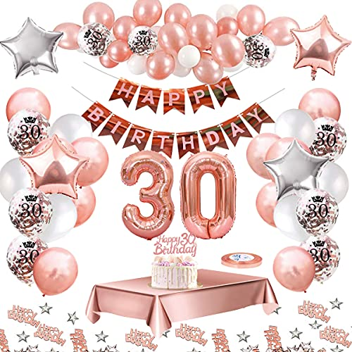 MMTX Palloncini Compleanno 30 Anni Oro Rosa Compleanno Decorazioni per Feste Donna Addobbi Compleanno Bomboniere 30 Anni Ragazza con Tovaglia Konfetti Palloncini in Lattice Stampati Product Name