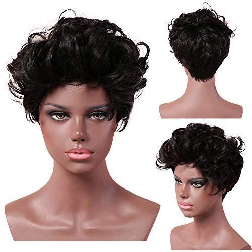 GJJSZ Féminin Court Pixie Coupe Perruques de Cheveux Humains pour Les Femmes Noir Racine Perruques10 / 26 cm