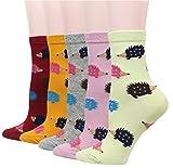 Cansok Damen-Crew-Socken, Tiermotiv, 5 Stück (Igel)