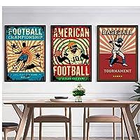 ラグビー野球フットボールスポーツレトロ北欧のポスターとプリント壁アートキャンバス絵画リビングルームの家の装飾のための壁の写真-50x70cmx3フレームなし