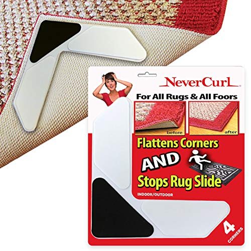 3 Layer Rug Corners Grippers Only by NeverCurl - Instantly Stops Slipping and has Stiff Layer to Prevent Curling - USA Patented - Easy Lift Design to Clean Under Rugs