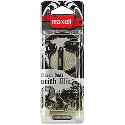 Maxell 196131 Flanged Ear Tips Superb Comfortable Noise Filtering Fit High Intensity Listening Classic Earbud with Inline Microphone, Black