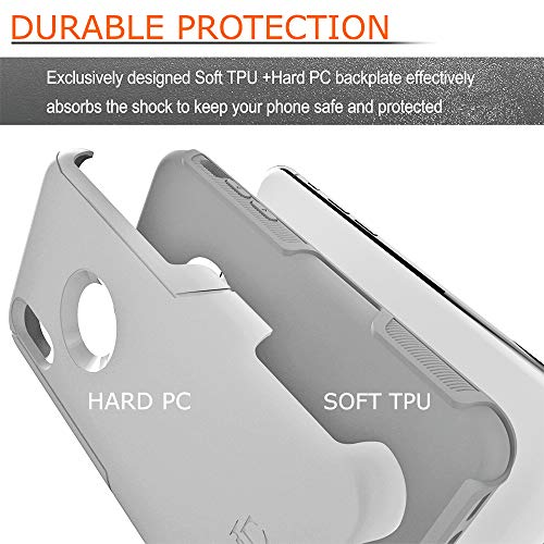 TEAM LUXURY [Defense-x Series Case for iPhone X & iPhone Xs, Dura Layer Shock Absorbing Technology Protective Phone Case 5.8 Inch - Mint/Gray