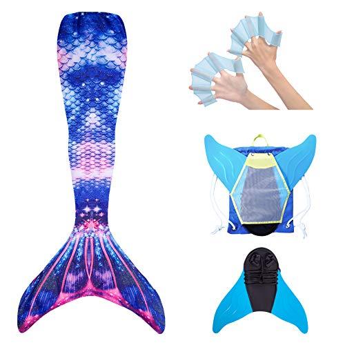 steady flow Mädchen, Meerjungfrau Flosse zum Schwimmen für Kinder, Meerjungfrauenschwanz mit Stabiler Covernaht und Rucksack, Blau, Gr 38-40