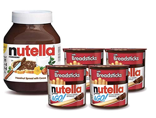 Nutella and Nutella and Go Bundle, 4 Count Chocolate Hazelnut Spread Snack Packs with Breadsticks and 35.3 oz Bulk Nutella Jar, Perfect Topping for Easter Treats
