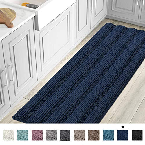 Striped Luxury Chenille Bathroom Rug Mat Runner Oversized 59x20 Inch Extra Soft and Absorbent Shaggy...