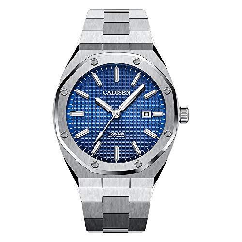 Herren Automatik-Uhr Armbanduhr Automatikwerk Blaues Zifferblatt mit Edelstahl Armband