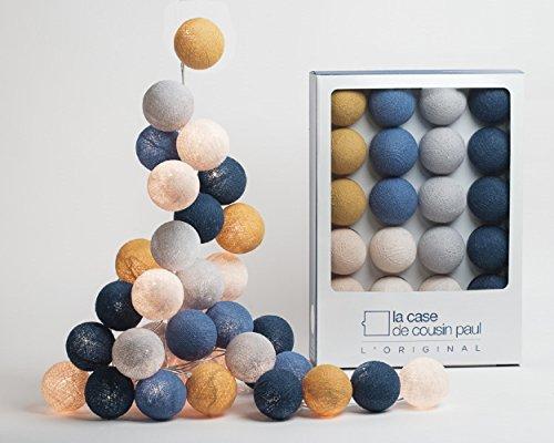 La Case de Cousin Paul 3760053204417 Guirnalda de luces, poliéster, mostaza, azul polvo, lino, marfil, gris perla, pat