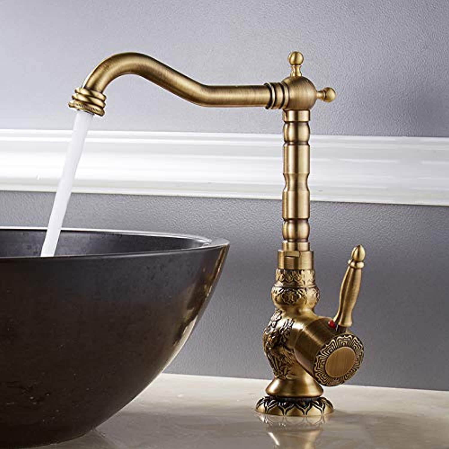 Basin Faucet Sink Faucet European Style All Copper Carved Antique Basin Head Art Basin, Retro Single Hole Hot and Cold Water Faucet,B