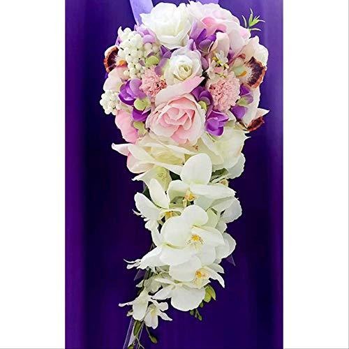 Exc waterdruppel-waterval, bruid, bruidssieraden, Koreaanse bruiloft, simulatie van bloemen, bruidsjurk Estilo 2 Paars