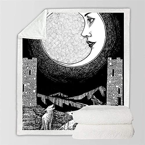 FGRSD Soft Warm Sherpa Blanket,Woman Face Moon Night View Digital Printed Quilt,Bedding Couch Blanket,Adults Office Lunch Break Blanket,Winter Sheet Plush Bedspreads 150×200cm
