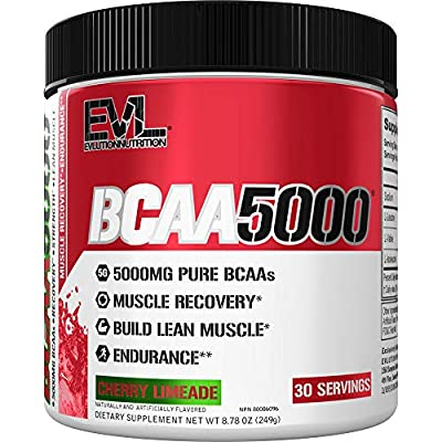 Evlution Nutrition BCAA5000 Powder 5 Grams of Branched Chain Amino Acids (BCAAs) Essential for Performance, Recovery, Endurance, Muscle Building, Keto Friendly, No Sugar (30 Servings, Cherry Limeade)