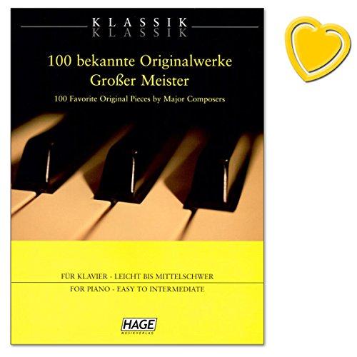100 bekende originele werken grote meesters - voor scholieren, volwassenen, heropstijgers en liefhebbers van de klassieke muziek - notenboek met kleurrijke hartvormige muziekklem