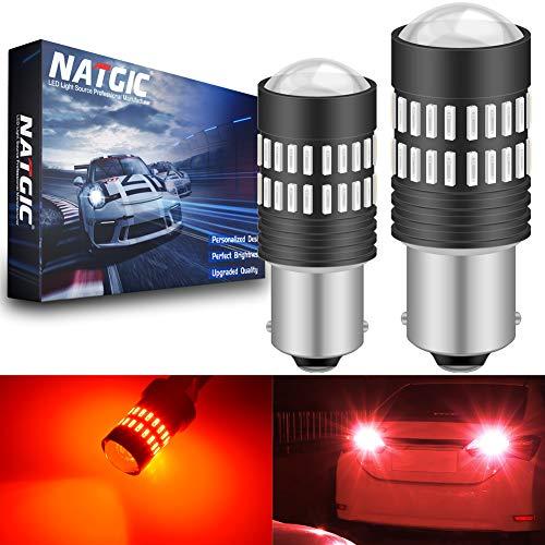 NATGIC 1156 BA15S 7506 1095 1141 Ampoules à LED Rouges 2400LM 48-SMD 4014 LED avec projecteur pour Feux de Position latéraux arrêt de Frein arrière (Pack de 2)